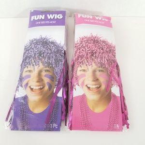Other - Pom Pom Tinsel Wig Pink & Purple Bundle of 2 New